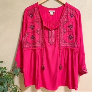 Lucky Brand • Bright Pink Peasant Blouse